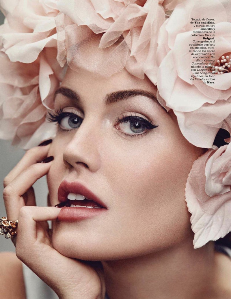 Ready for her closeup, Kitty Spencer wears floral headpiece