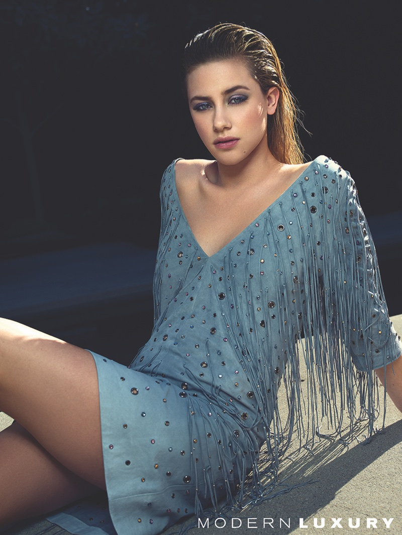 Draped in fringe, Lili Reinhart wears Bottega Veneta suede dress