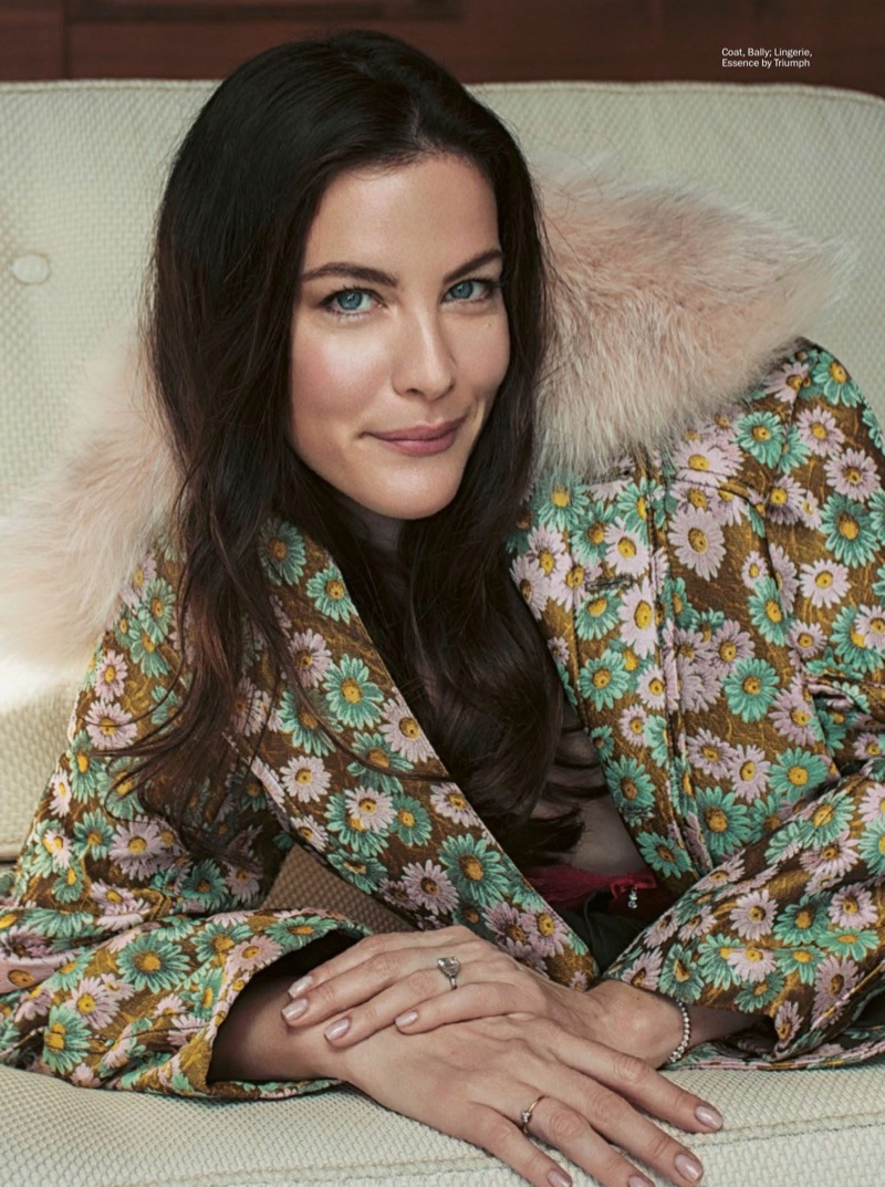 Liv Tyler wears Bally jacket with Triumph bra