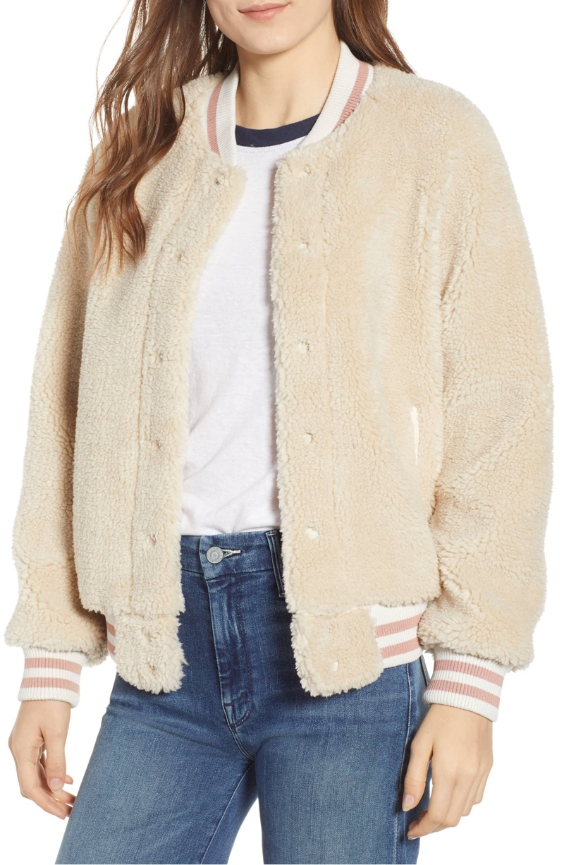 MOTHER The Snap Faux Shearling Letterman Jacket $206.98 (previously $345)