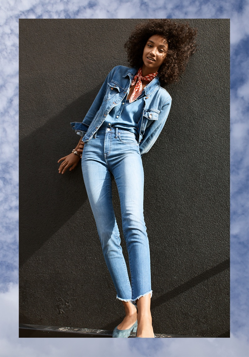 "Madewell The Jean Jacket in Pinter Wash, Central Ruffle-Sleeve Shirt in Indigo, 10"" High-Rise Skinny Jeans: Tulip Hem Edition, Bandana and The Raquel Pump in Suede"