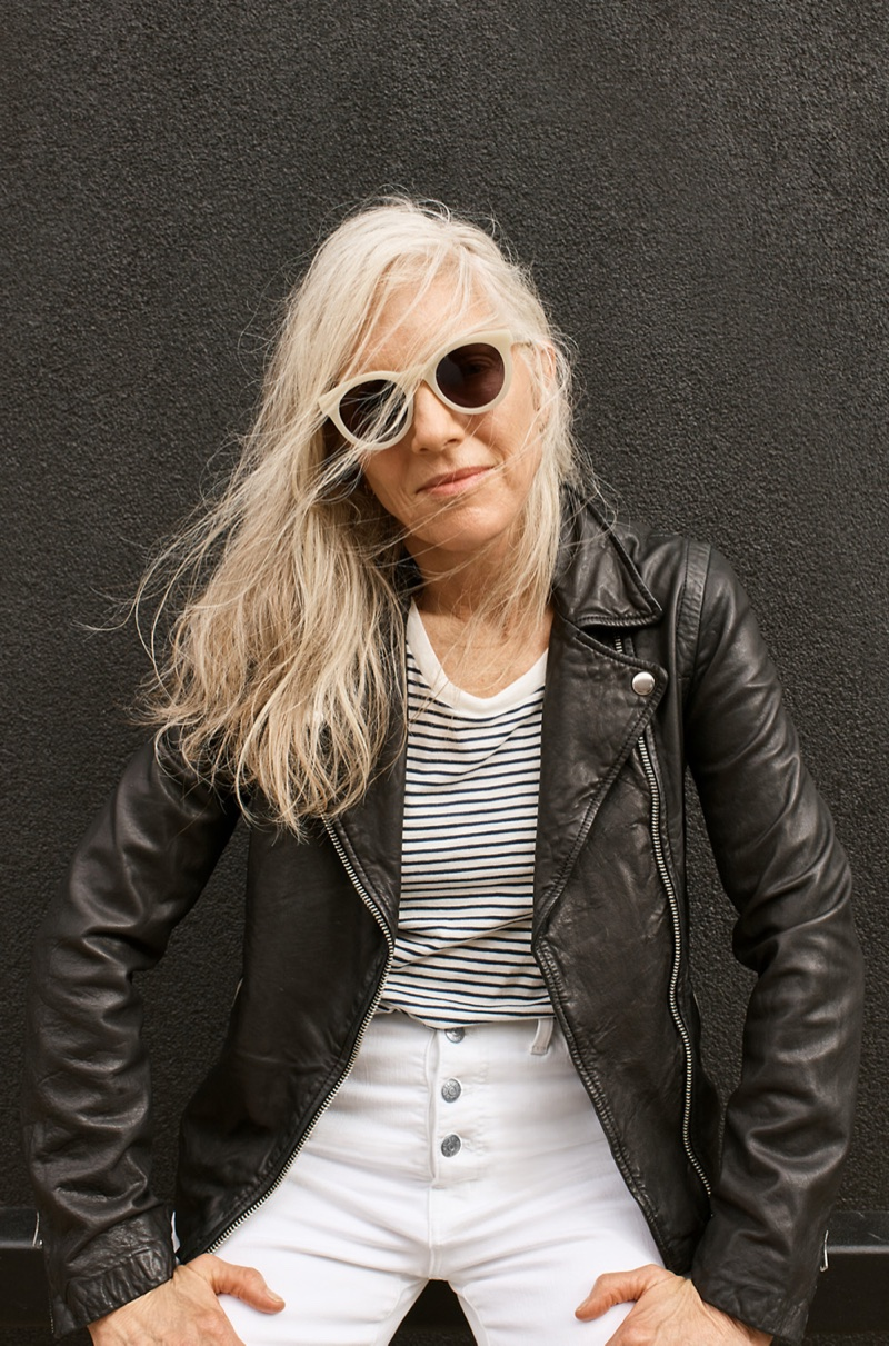"Madewell Halliday Sunglasses, Washed Leather Motorcycle Jacket and 10"" High-Rise Skinny Crop Jeans: Button-Front Edition"
