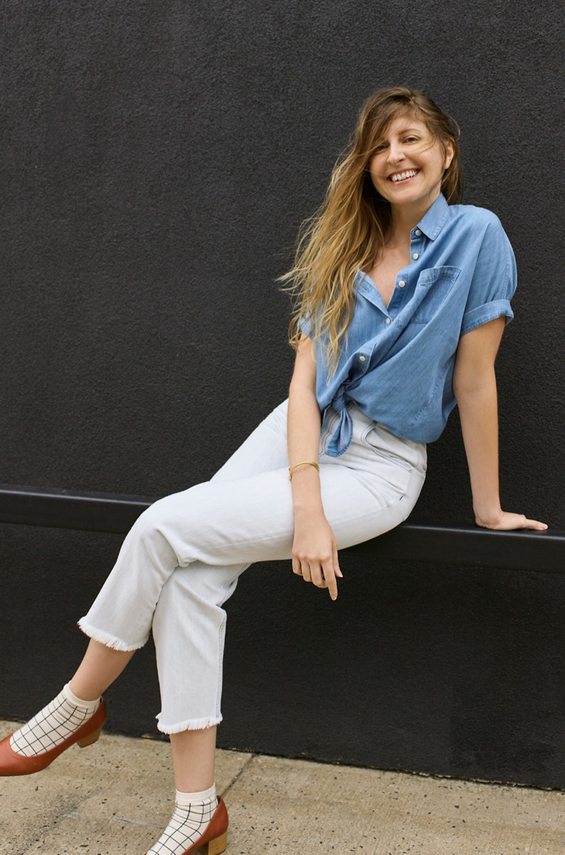 Madewell Central Shirt in Roberta Indigo, Tapered Wide-Leg Jeans, Grid Anklet Socks and The Raquel Pump in Leather