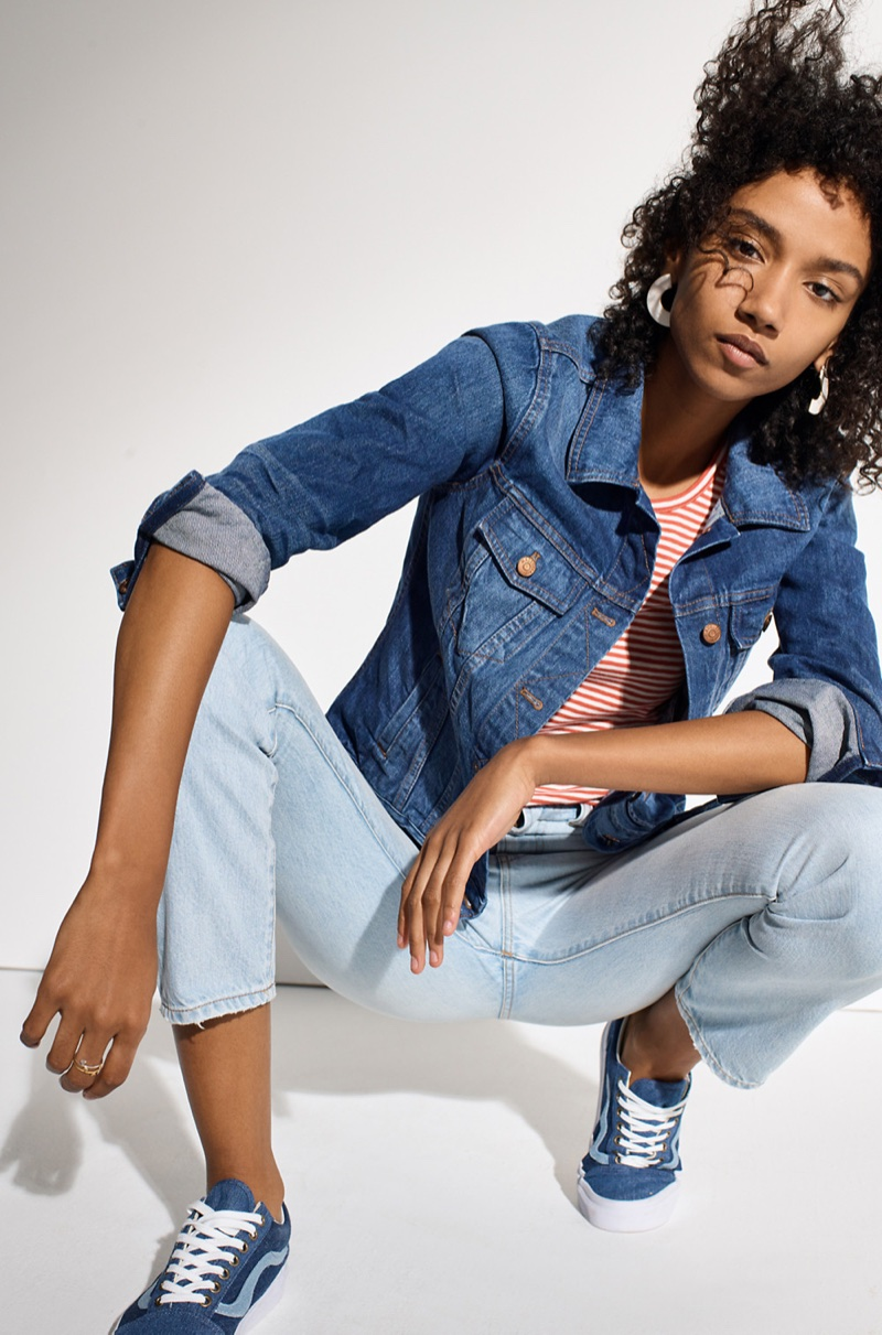 Madewell The Jean Jacket in Pinter Wash, Baby Tee in Stripe, The Perfect Summer Jean in Fitzgerald Wash and Madewell x Vans Unisex Old Skool Sneakers in Denim