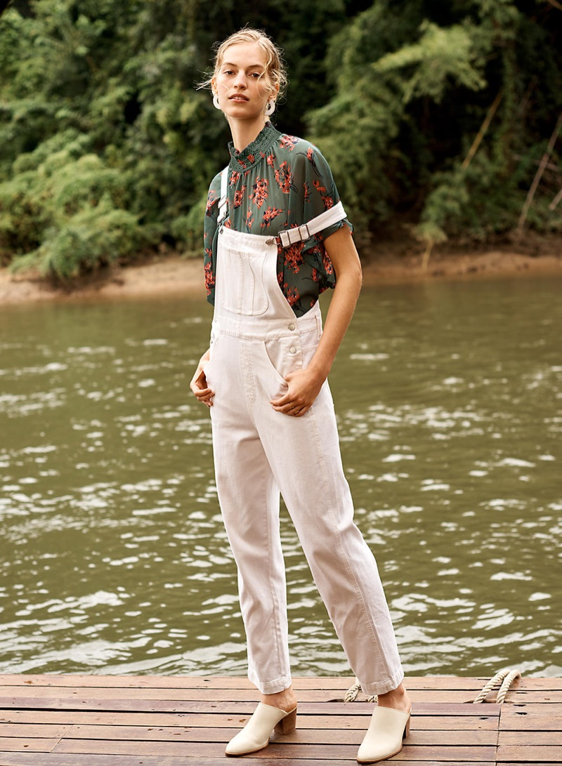 Madewell Straight-Leg Overalls in Tile White, Mockneck Top in Butterfly Garden, Curve Statement Earrings and The Harper Mule