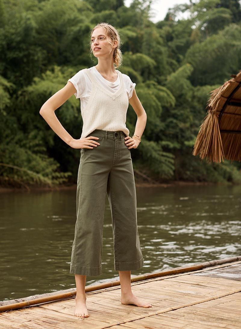 Madewell Rivet & Thread Ex-Boyfriend Tee in White, Stockton Sweater Tank and Emmet Wide-Leg Crop Pants