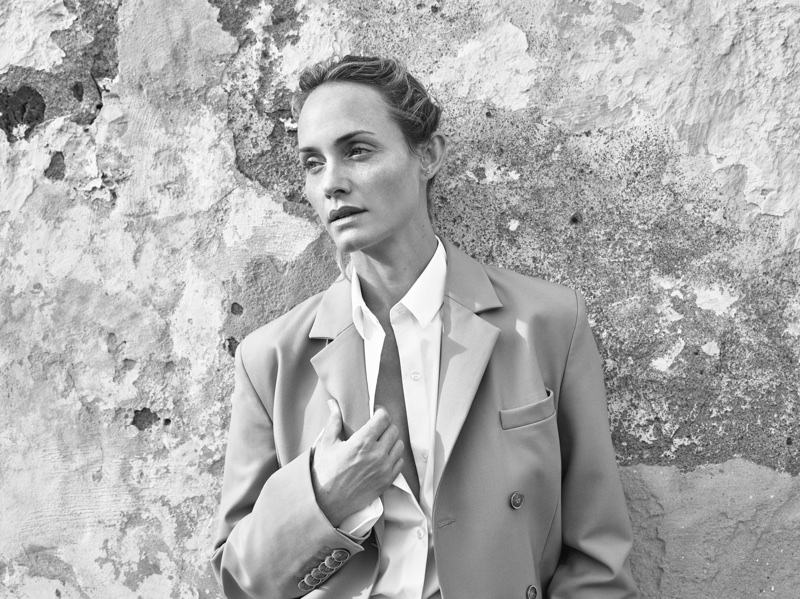 Model Amber Valletta suits up in Mango's spring-summer 2018 campaign