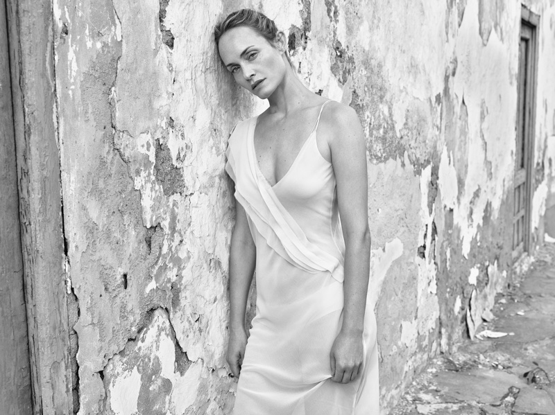 Amber Valletta wears draped dress in Mango's spring-summer 2018 campaign