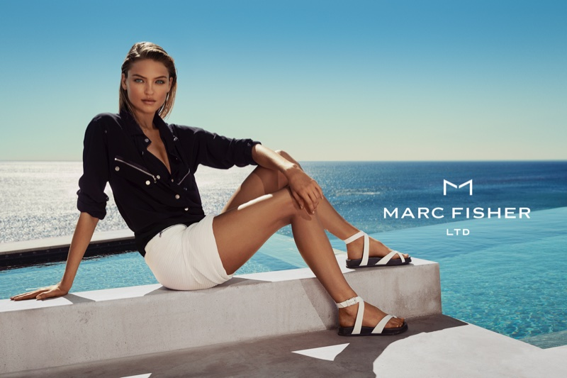 Martha Hunt wears sandals in Marc Fisher's spring-summer 2018 campaign