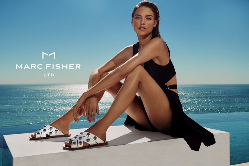 Martha Hunt models embellished sandals in Marc Fisher's spring-summer 2018 campaign