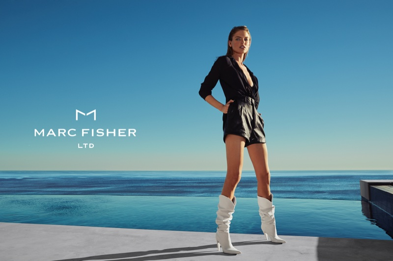 Martha Hunt models white boots in Marc Fisher's spring-summer 2018 campaign