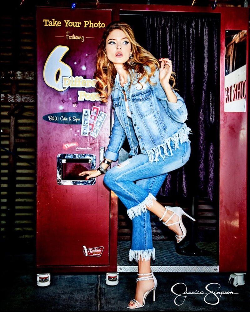 Martha Hunt wears denim on denim look for Jessica Simpson Collection spring-summer 2018 campaign
