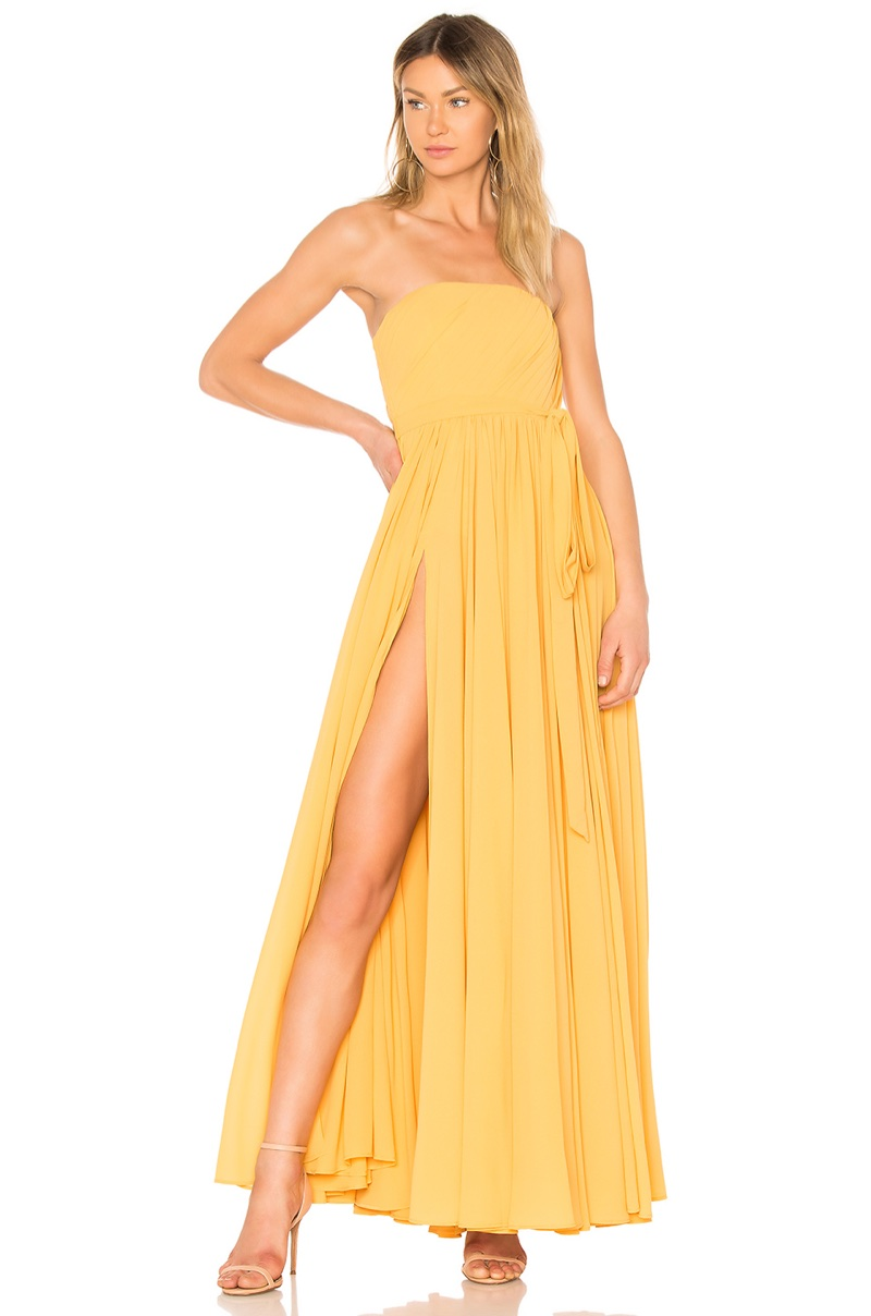 Michael Costello x REVOLVE Carrie Gown in Yellow $358