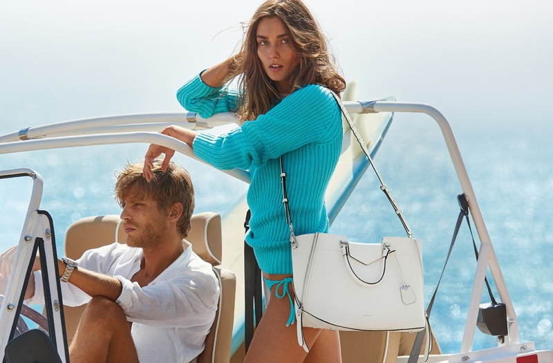 Andreea Diaconu poses in blue sweater for MICHAEL Michael Kors' spring-summer 2018 campaign