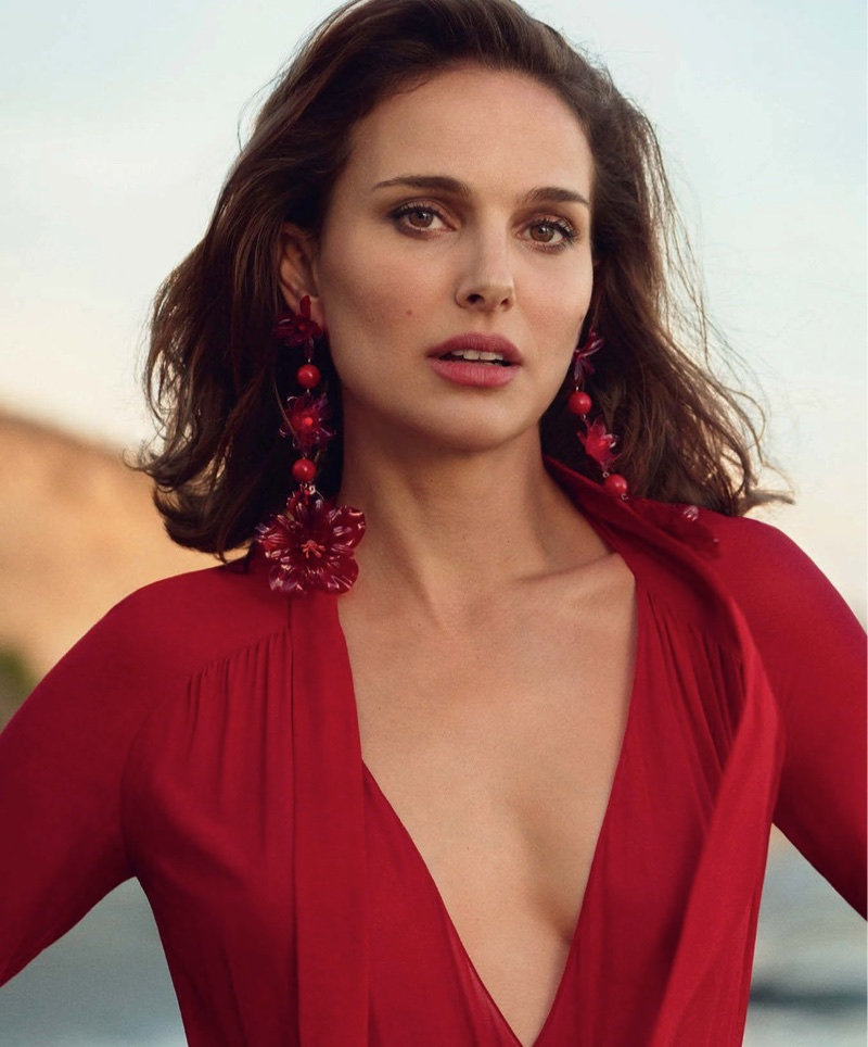 Actress Natalie Portman wears Dior dress with Isabel Marant earrings