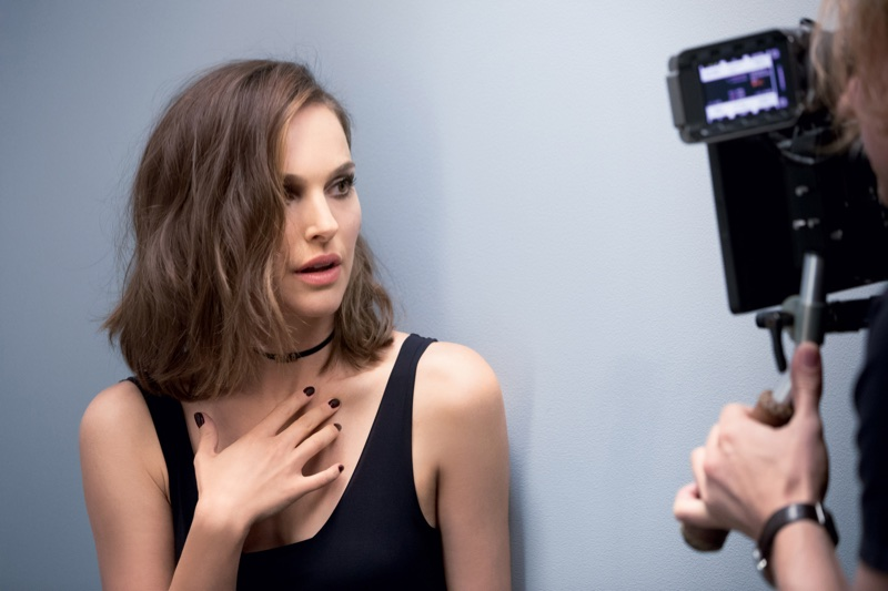Actress Natalie Portman looks ready for her closeup behind the scenes at Diorskin shoot