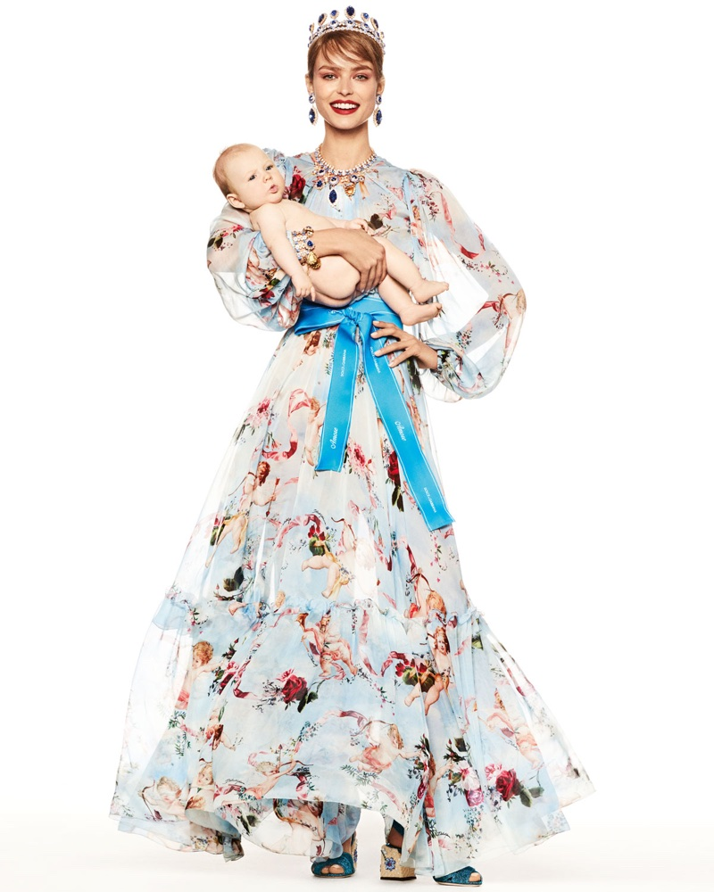 Dolce & Gabbana Long-Sleeve Cherub Print Chiffon Jumpsuit