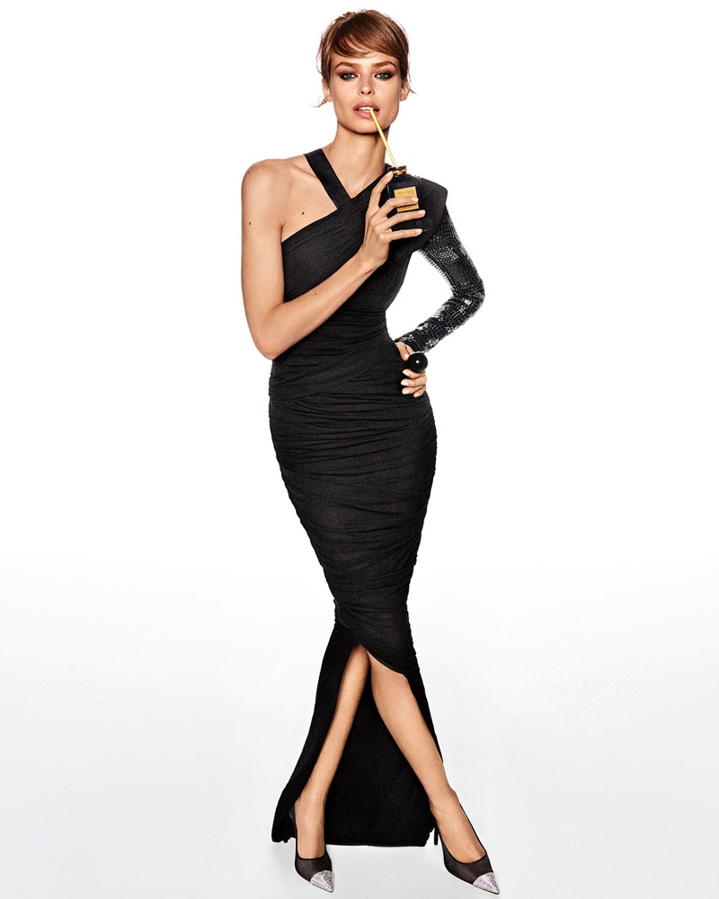 Tom Ford One-Shoulder Ruched Gown with Beaded Embellishment