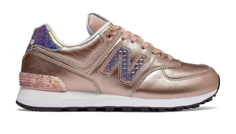 New Balance 574 Glitter Punk Sneaker in Rose Gold $89.99