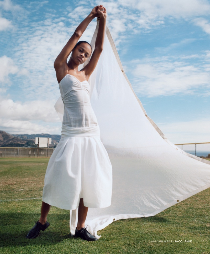 Aaliyah Hydes poses in Jacquemus for Nordstrom's spring 2018 campaign
