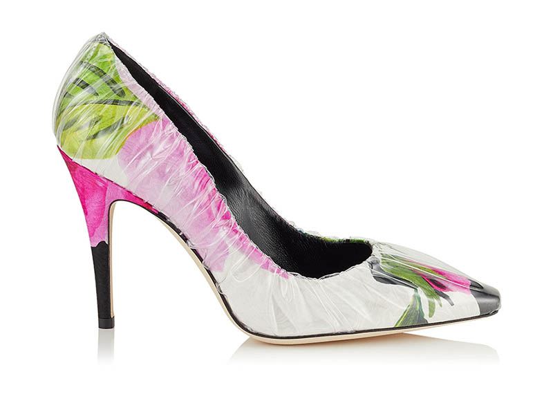 Off-White x Jimmy Choo Anne 100 Floral Print Pumps with Ruched TPU $1,085