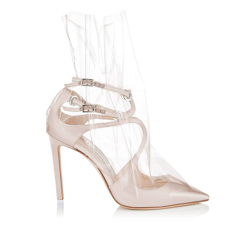 Off-White x Jimmy Choo Claire 100 Pointy Toe Pumps with Ruched TPU $1,195