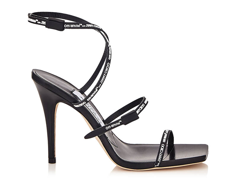 Off-White x Jimmy Choo Jane 100 Logo Rubber Strap Sandals in Black $1,085