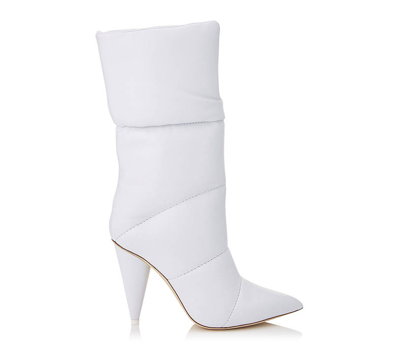 Off-White x Jimmy Choo Sara 100 White Padded Mid High Boots $1,570