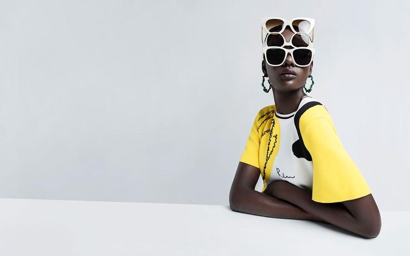 Duckie Thot models sunglasses in Oscar de la Renta's spring-summer 2018 campaign