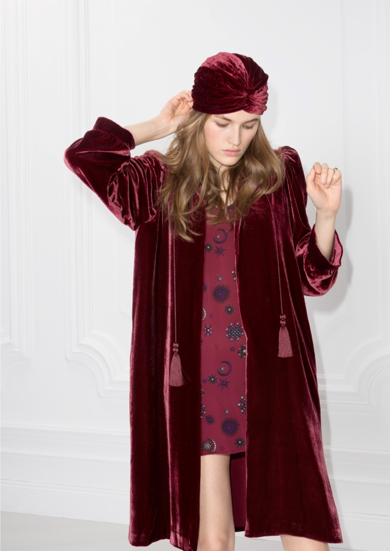 & Other Stories Velvet Kaftan in Red $145