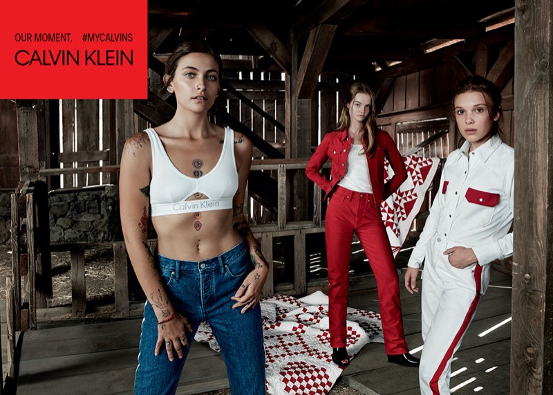 Paris Jackson, Lulu Tenney and Millie Bobby Brown appear in Calvin Klein Jeans spring-summer 2018 campaign