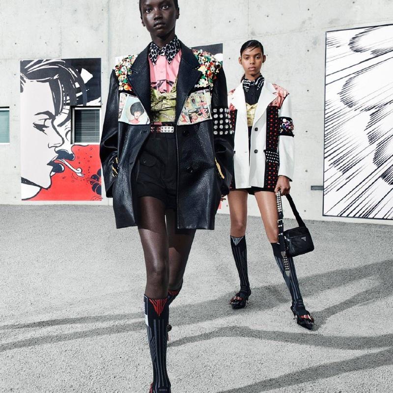 Anok Yai and Alyssa Traoré front Prada 365 Real Life spring-summer 2018 campaign