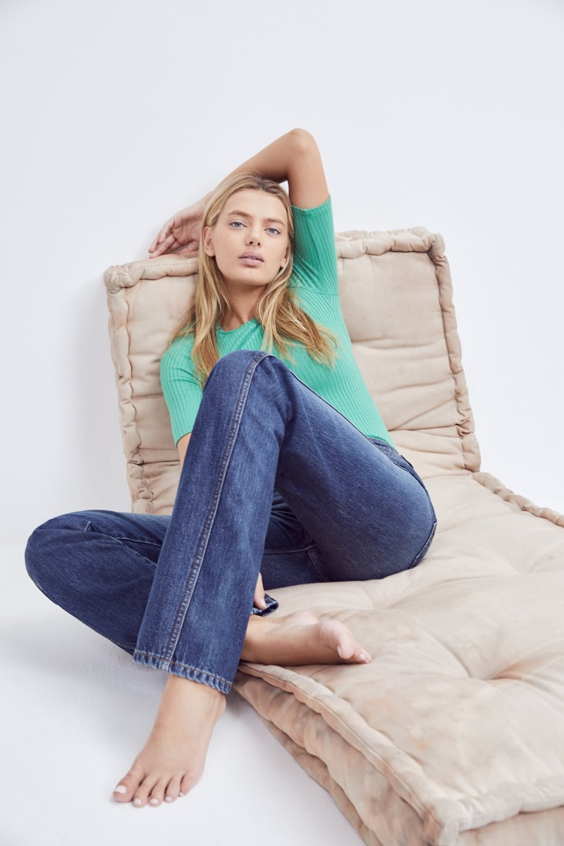 Reformation Janine Top in Matcha $48 and MacGraw Jean in Chesapeake $128