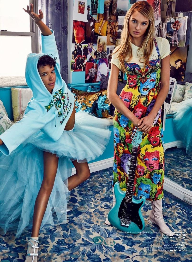 Romee Strijd & Dilone Pose at Home in the Spring Collections for Vogue Turkey