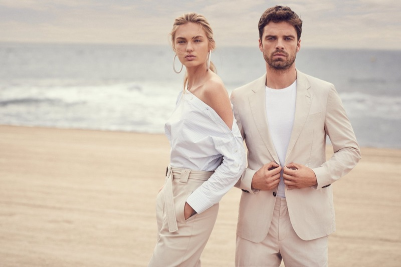 Romee Strijd poses with Sebastian Stan for Hugo Boss Summer of Ease 2018 campaign