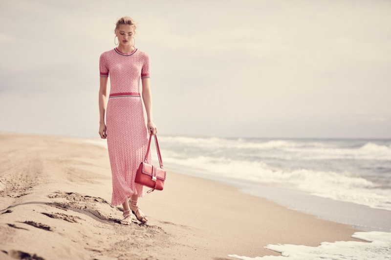 Model Romee Strijd poses in pink knits for Hugo Boss Summer of Ease 2018 campaign