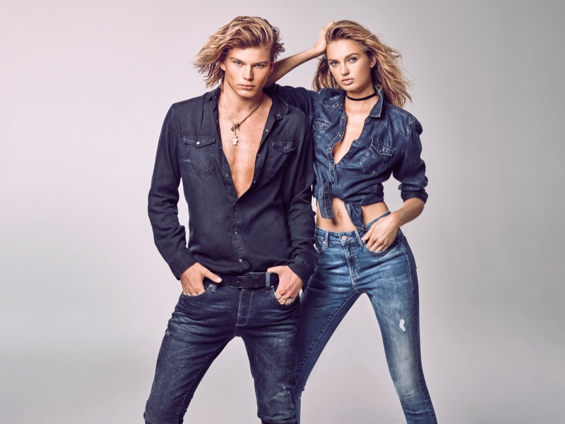 Jordan Barrett and Romee Strijd get clad in denim for Mavi's spring-summer 2018 campaign