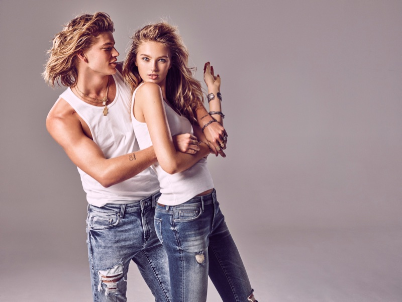 Clad in distressed denim, Jordan Barrett and Romee Strijd appear in Mavi's spring-summer 2018 campaign