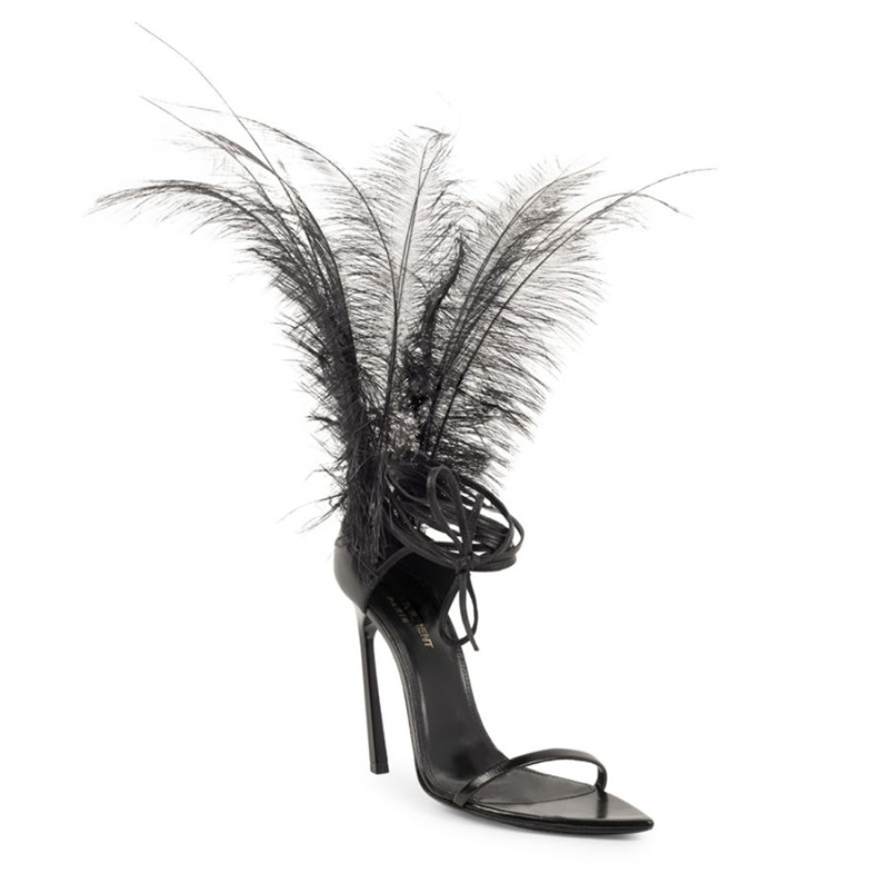 Saint Laurent Talitha Feather Ankle Strap Sandals $1,295