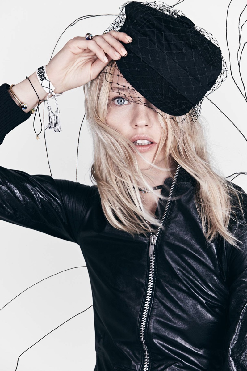 Tipping off her hat, Sasha Pivovarova appears in Dior's spring-summer 2018 campaign