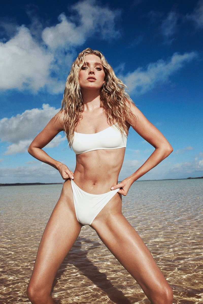 Elsa Hosk poses in white swimsuit for Solid & Striped campaign
