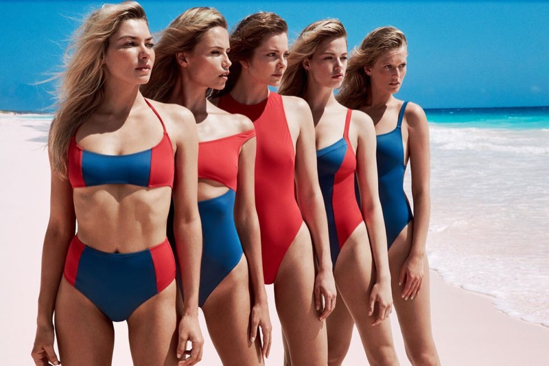 Jessica Hart, Natasha Poly, Eniko Mihalik, Hailey Clauson and Toni Garrn appear in Solid & Striped swimwear campaign