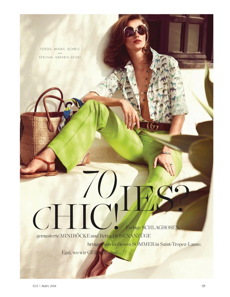 Tess Hellfeuer Poses in Sunny 70's Styles for ELLE Germany