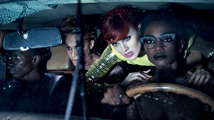 An image from Tom Ford's spring 2018 advertising campaign with Fernando Cabral, Joan Smalls, Karen Elson and Imari Karanja