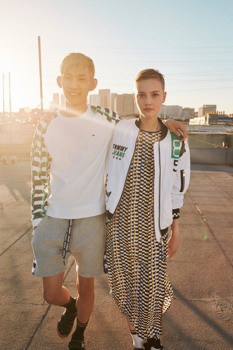 Sup Park and Lina Hoss wear prints in Tommy Jeans' spring-summer 2018 campaign