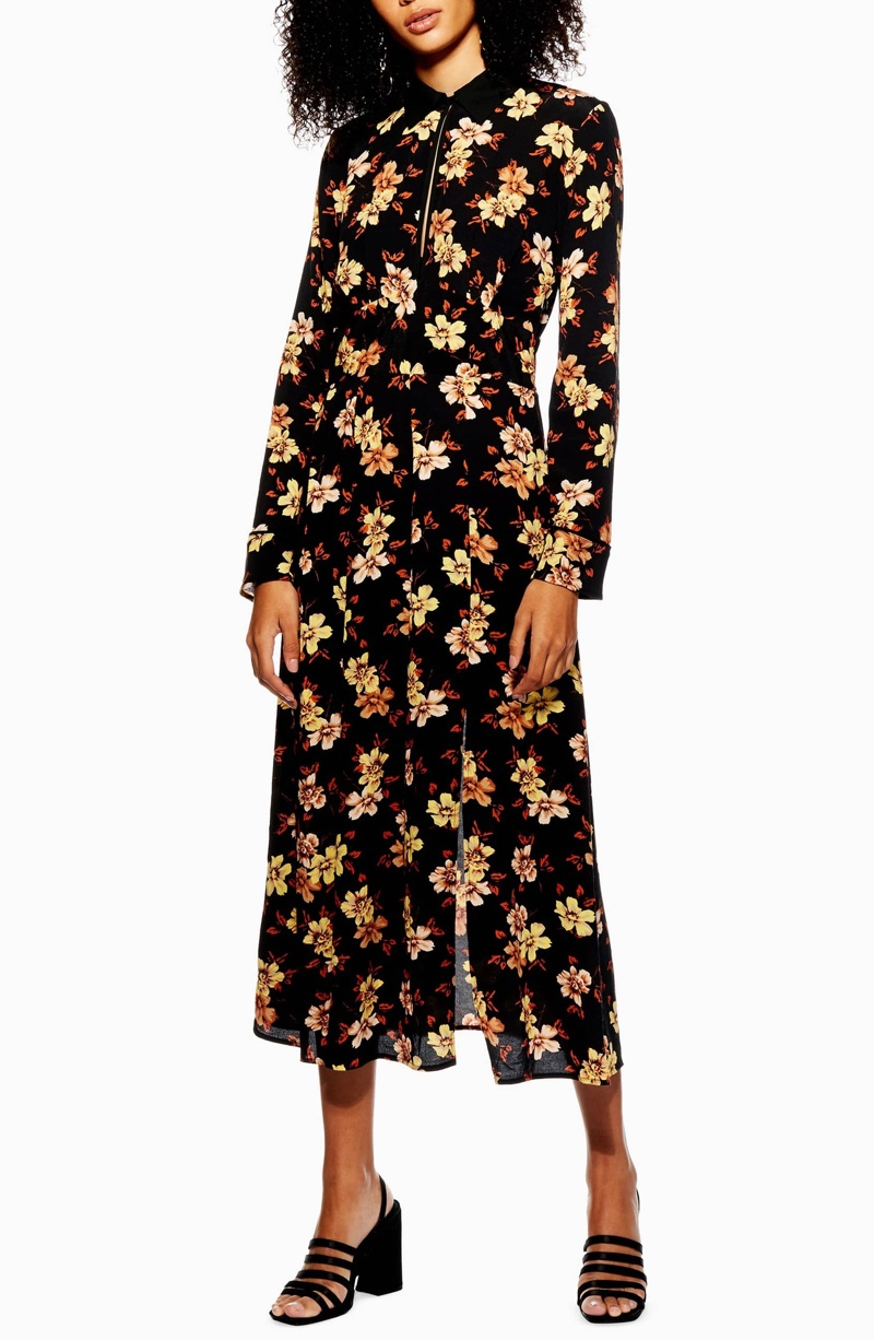 Topshop Autumn Floral Midi Dress $56.98 (previously $95)