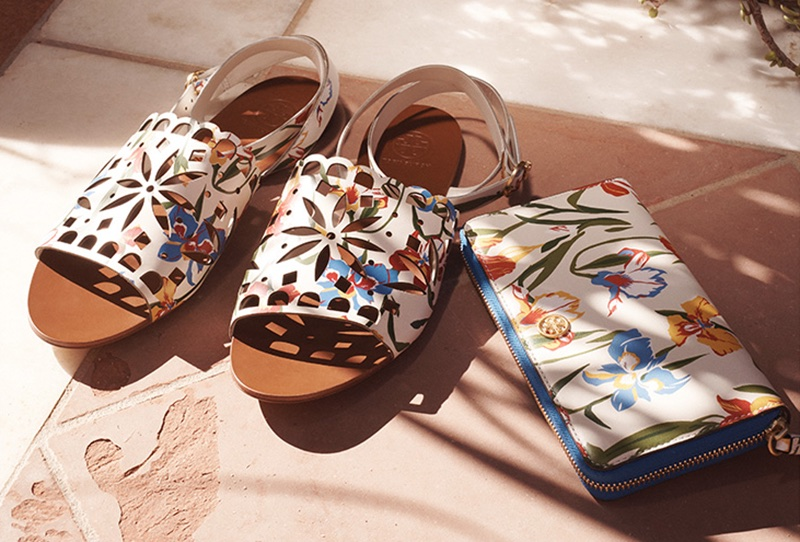 (Left) Tory Burch May Flat Sandals in Painted Iris (Right) Tory Burch Robinson Floral Zip Continental Wallet