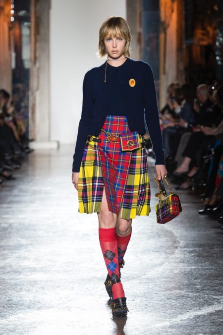 Versace Takes On Colorful Plaids for Fall 2018