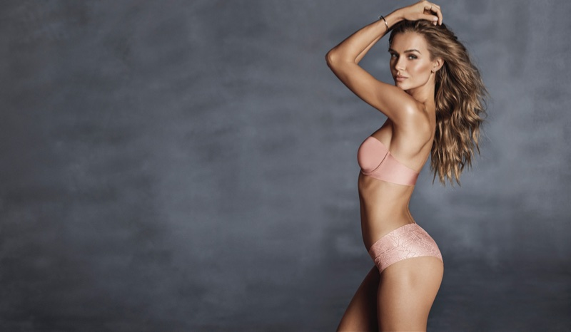 Josephine Skriver models Victoria's Secret strapless bra and no show panty for Sexy Illusions 2018 campaign