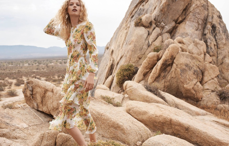 Model Frederikke Sofie wears Golden Tiered dress for Zimmermann's spring 2018 campaign